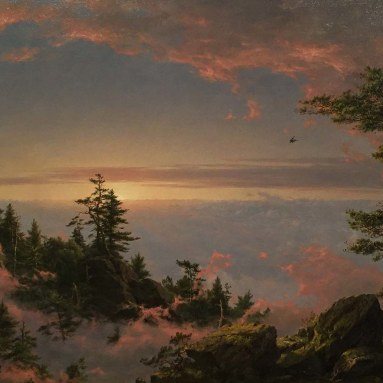 "Frederic Edwin Church's 1849 oil ""Above the Clouds at Sunrise,"" from the top of the Catskill Mountain ridge, a tribute to his mentor Cole Installation view of ""Thomas Cole's Journey: Atlantic Crossings"" The Metropolitan Museum of Art New York, New York January 30 – May 13, 2018"